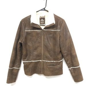 PRANA brown furry lines jacket size small